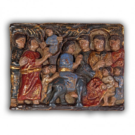 Romanesque relief of the Entry into Jerusalem.